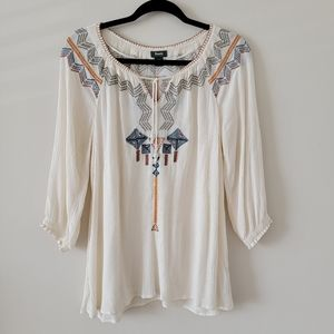 Roots Peasent Crinkle Boho Top